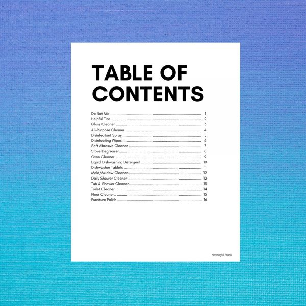 DIY Recipe Table Of Contents